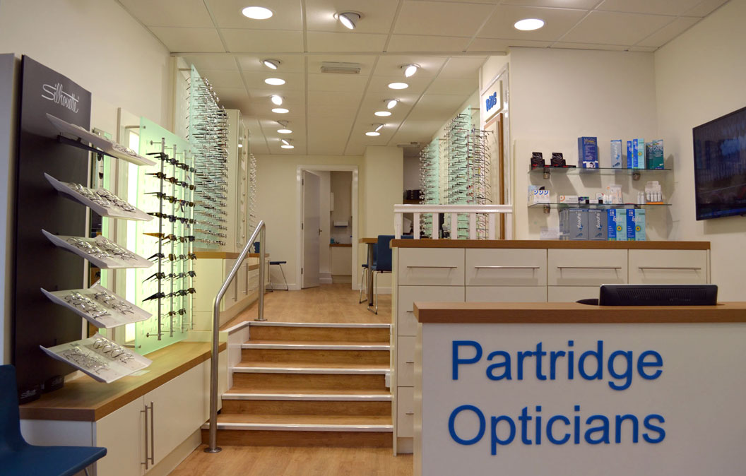 Inside partridge opticians shop